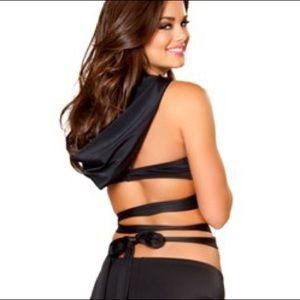 537fe99740a Roma Tops | Nwot Halloween Hooded Wrap Halter Top Black | Poshmark